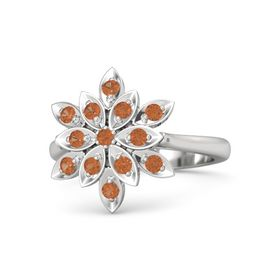 Round Fire Opal Sterling Silver Ring with Fire Opal