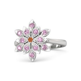 Round Fire Opal Sterling Silver Ring with Pink Tourmaline and Pink Sapphire