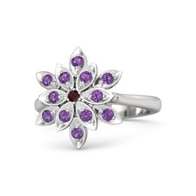 Round Red Garnet Sterling Silver Ring with Amethyst