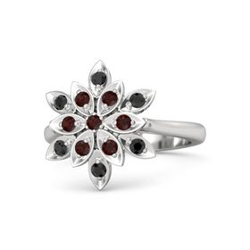 Round Red Garnet Sterling Silver Ring with Red Garnet and Black Diamond