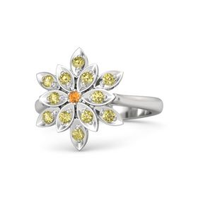 Round Citrine Sterling Silver Ring with Yellow Sapphire