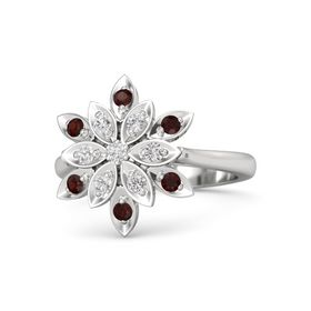 Round White Sapphire Sterling Silver Ring with White Sapphire and Red Garnet