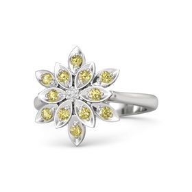 Round White Sapphire Sterling Silver Ring with Yellow Sapphire