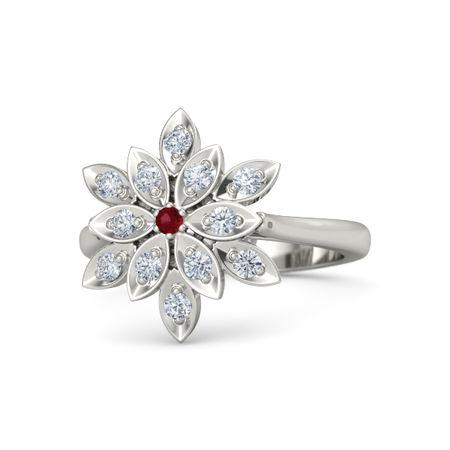 Round Ruby 14k White Gold Ring With Diamond Dahlia Ring Gemvara