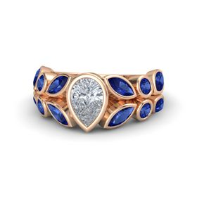 Pear Diamond 14K Rose Gold Ring with Blue Sapphire