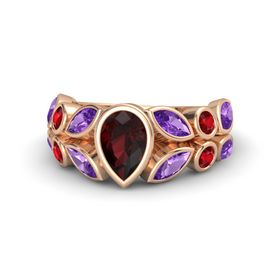 Pear Red Garnet 14K Rose Gold Ring with Amethyst and Ruby