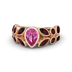 Pear Pink Sapphire 14K Rose Gold Ring with Red Garnet