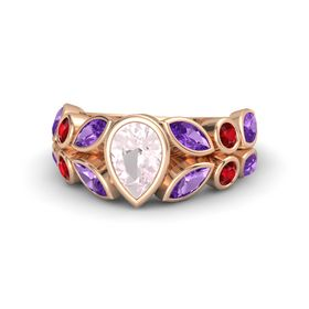 Pear Rose Quartz 14K Rose Gold Ring with Amethyst & Ruby