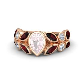 Pear Rose Quartz 14K Rose Gold Ring with Red Garnet & Diamond