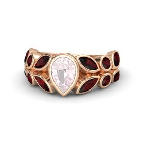 Pear Rose Quartz 14K Rose Gold Ring with Red Garnet