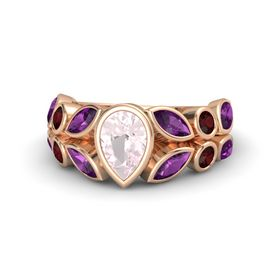 Pear Rose Quartz 14K Rose Gold Ring with Rhodolite Garnet and Red Garnet