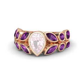 Pear Rose Quartz 14K Rose Gold Ring with Rhodolite Garnet
