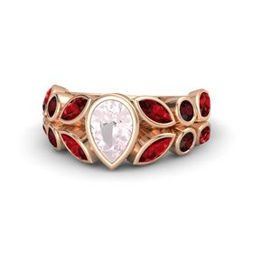 Pear Rose Quartz 14K Rose Gold Ring with Ruby & Red Garnet