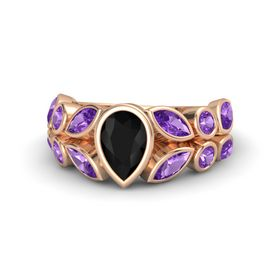 Pear Black Onyx 14K Rose Gold Ring with Amethyst