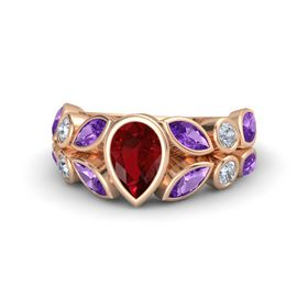 Pear Ruby 14K Rose Gold Ring with Amethyst & Diamond