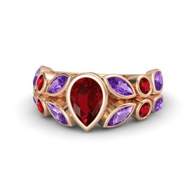 Pear Ruby 14K Rose Gold Ring with Amethyst & Ruby
