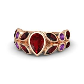 Pear Ruby 14K Rose Gold Ring with Red Garnet and Rhodolite Garnet