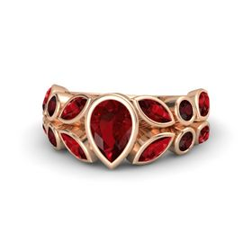 Pear Ruby 14K Rose Gold Ring with Ruby and Red Garnet