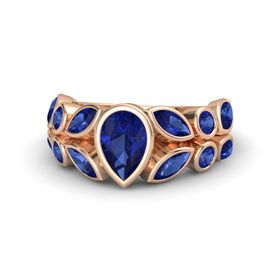 Pear Blue Sapphire 14K Rose Gold Ring with Blue Sapphire