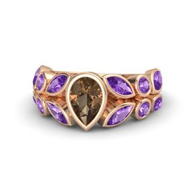 Pear Smoky Quartz 14K Rose Gold Ring with Amethyst