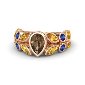 Pear Smoky Quartz 14K Rose Gold Ring with Citrine and Blue Sapphire