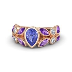Pear Tanzanite 14K Rose Gold Ring with Amethyst & Diamond