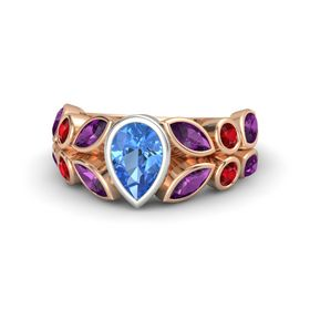 Pear Blue Topaz 14K Rose Gold Ring with Rhodolite Garnet and Ruby