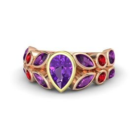 Pear Amethyst 14K Rose Gold Ring with Rhodolite Garnet and Ruby