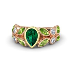 Pear Emerald 14K Rose Gold Ring with Peridot & Diamond