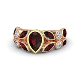 Pear Red Garnet 14K Rose Gold Ring with Red Garnet & Diamond