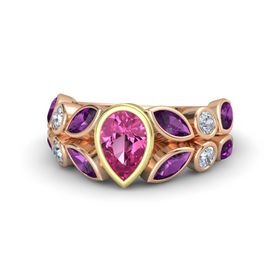 Pear Pink Sapphire 14K Rose Gold Ring with Rhodolite Garnet & Diamond