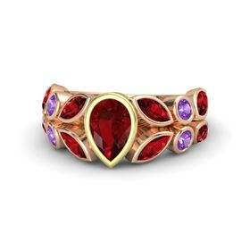 Pear Ruby 14K Rose Gold Ring with Ruby and Amethyst