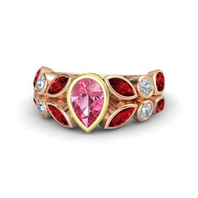 Pear Pink Tourmaline 14K Rose Gold Ring with Ruby and Diamond
