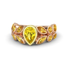 Pear Yellow Sapphire 14K Rose Gold Ring with Citrine