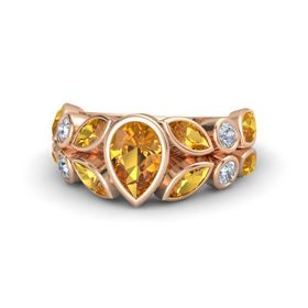 Pear Citrine 14K Rose Gold Ring with Citrine and Diamond