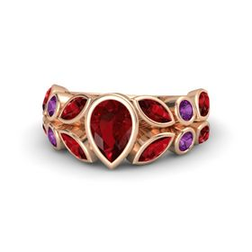 Pear Ruby 14K Rose Gold Ring with Ruby and Rhodolite Garnet