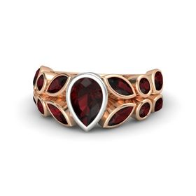 Pear Red Garnet 14K Rose Gold Ring with Red Garnet