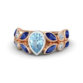Pear Aquamarine 14K Rose Gold Ring with Sapphire & Diamond