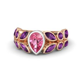 Pear Pink Tourmaline 14K Rose Gold Ring with Rhodolite Garnet
