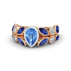 Pear Blue Topaz 14K Rose Gold Ring with Blue Sapphire and Diamond