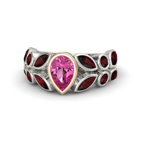 Pear Pink Sapphire 14K White Gold Ring with Red Garnet