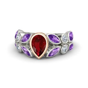 Pear Ruby 14K White Gold Ring with Amethyst & Diamond