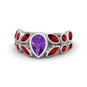 Pear Amethyst 14K White Gold Ring with Ruby