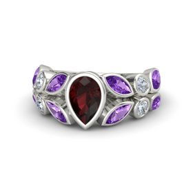 Pear Red Garnet 14K White Gold Ring with Amethyst and Diamond