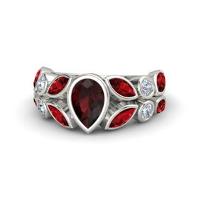Pear Red Garnet 14K White Gold Ring with Ruby & Diamond
