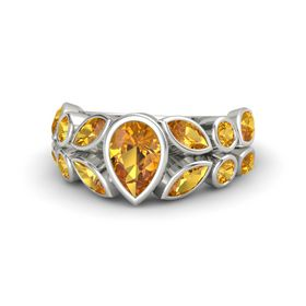 Pear Citrine 14K White Gold Ring with Citrine