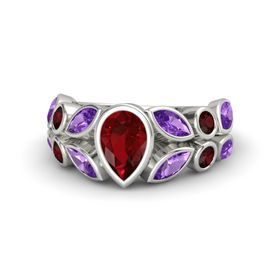Pear Ruby 14K White Gold Ring with Amethyst & Red Garnet