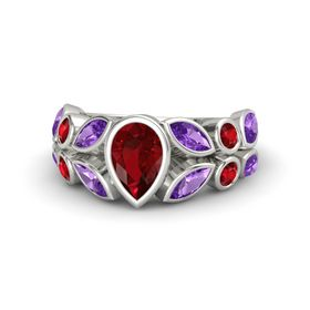 Pear Ruby 14K White Gold Ring with Amethyst & Ruby