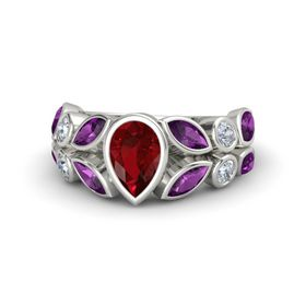 Pear Ruby 14K White Gold Ring with Rhodolite Garnet and Diamond