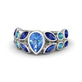 Pear Blue Topaz 14K White Gold Ring with Blue Sapphire and London Blue Topaz